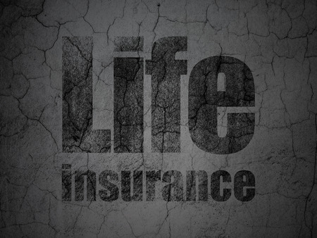 dark ages: Insurance concept: Black Life Insurance on grunge textured concrete wall background