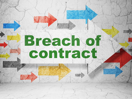 concrete court: Law concept:  arrow with Breach Of Contract on grunge textured concrete wall background Stock Photo