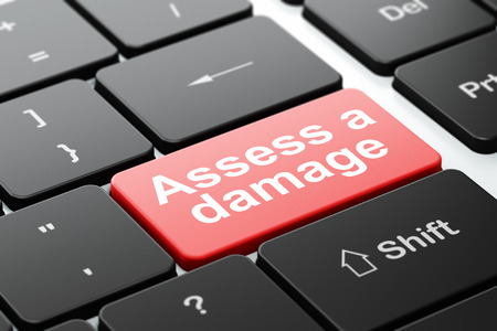 assess: Insurance concept: computer keyboard with word Assess A Damage, selected focus on enter button background, 3d render Stock Photo