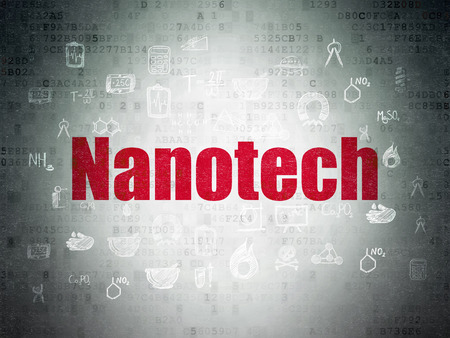 nanotech: Science concept: Painted red text Nanotech on Digital Paper background with  Hand Drawn Science Icons