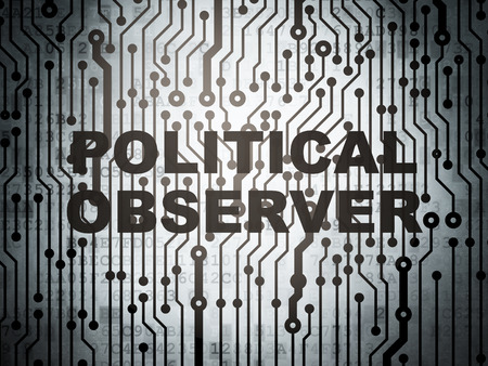 observer: Political concept: circuit board with  word Political Observer, 3d render
