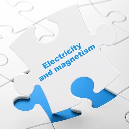 magnetismo: Concepto de la ciencia: Electricidad y Magnetismo en el fondo blanco piezas del rompecabezas, 3d