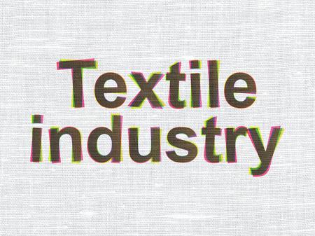 industria textil: concepto Manufacuring: CMYK Industria Textil en tejido de lino de textura de fondo Foto de archivo
