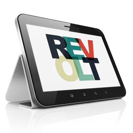 revolt: Political concept: Tablet Computer with Painted multicolor text Revolt on display
