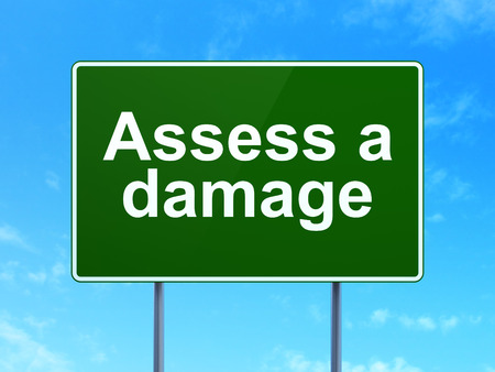 assess: Insurance concept: Assess A Damage on green road highway sign, clear blue sky background, 3d render Stock Photo