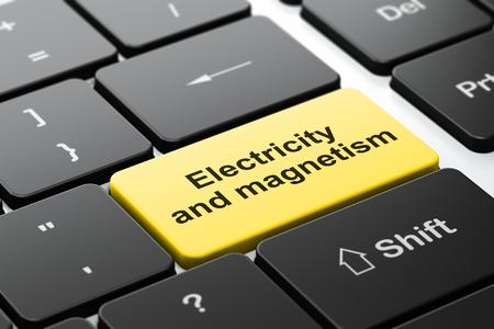 magnetismo: Concepto de la ciencia: Teclado de ordenador con la palabra electricidad y el magnetismo, de enfoque seleccionada en el fondo entra en el bot�n, 3d