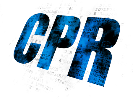 cpr: Medicine concept: Pixelated blue text CPR on Digital background Stock Photo