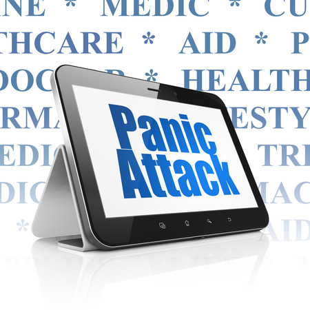 panic attack: Medicine concept: Tablet Computer with  blue text Panic Attack on display,  Tag Cloud background
