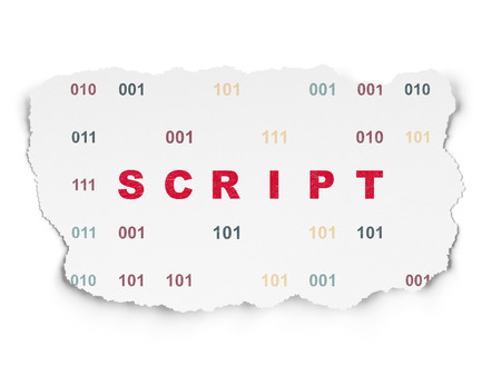 web application: Database concept: Painted red text Script on Torn Paper background with  Binary Code