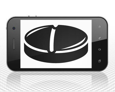 healing touch: Medicine concept: Smartphone with black Pill icon on display