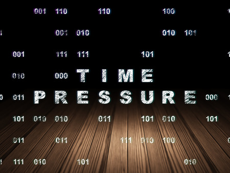 time pressure: Timeline concept: Glowing text Time Pressure in grunge dark room with Wooden Floor, black background with Binary Code Stock Photo