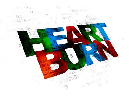heartburn: Healthcare concept: Pixelated multicolor text Heartburn on Digital background