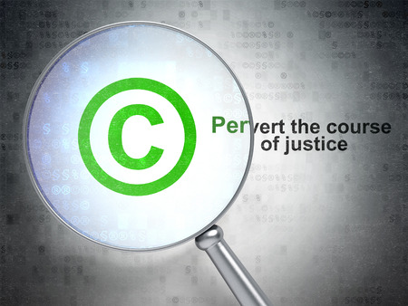 pervert: Law concept: magnifying optical glass with Copyright icon and Pervert the course Of Justice word on digital background