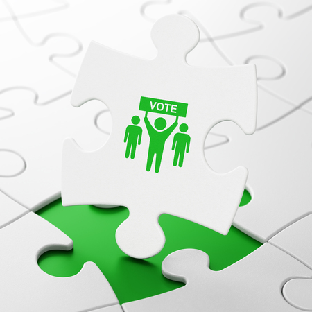 brainteaser: Political concept: Election Campaign on White puzzle pieces background, 3d render Stock Photo