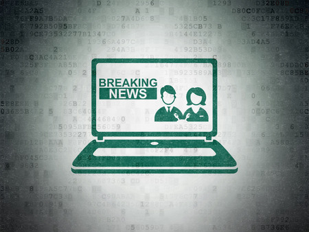 breaking the code: News concept: Painted green Breaking News On Laptop icon on Digital Paper background Stock Photo