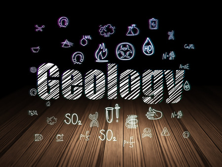 Science concept: Glowing text Geology,  Hand Drawn Science Icons in grunge dark room with Wooden Floor, black background