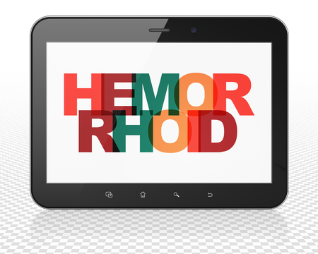 hemorrhoid: Healthcare concept: Tablet Pc Computer with Painted multicolor text Hemorrhoid on display