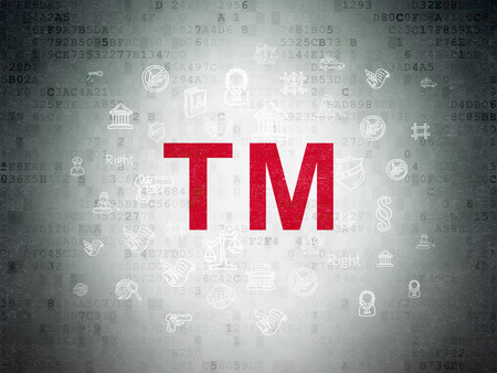 trademark: Law concept: Painted red Trademark icon on Digital Paper background with  Hand Drawn Law Icons Stock Photo