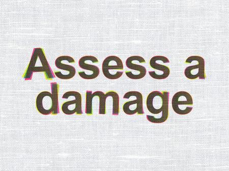 assess: Insurance concept: CMYK Assess A Damage on linen fabric texture background