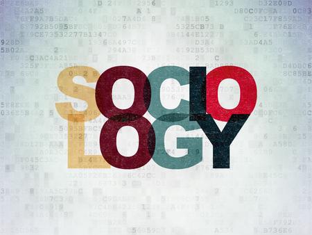 sociologia: El estudio de concepto: Pintadas texto multicolor Sociología en el fondo papel digital