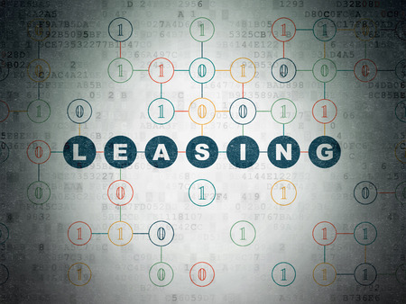leasing: Business concept: Painted blue text Leasing on Digital Paper background with Binary Code