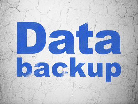 data backup: Information concept: Blue Data Backup on textured concrete wall background