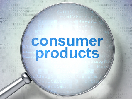 consumer products: Finance concept: magnifying optical glass with words Consumer Products on digital background