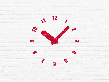 cronologia: Concepto de línea de tiempo: Pintado icono Reloj rojo en el ladrillo blanco pared de fondo Foto de archivo
