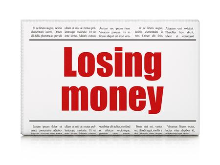 losing money: Banking concept: newspaper headline Losing Money on White background, 3d render Stock Photo