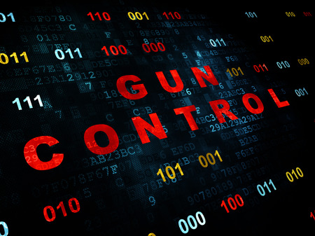 gun control: Protection concept: Pixelated red text Gun Control on Digital wall background with Binary Code