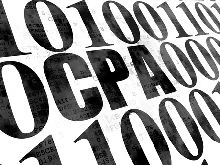 cpa: Business concept: Pixelated black text CPA on Digital wall background with Binary Code