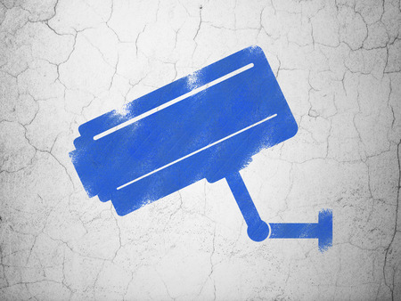 cctv camera: Safety concept: Blue Cctv Camera on textured concrete wall background