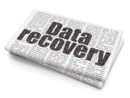 data recovery: Data concept: Pixelated black text Data Recovery on Newspaper background