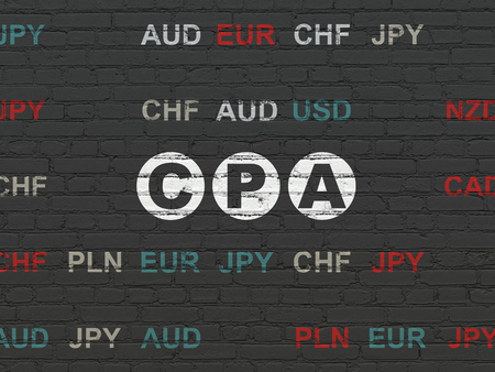 cpa: Finance concept: Painted white text CPA on Black Brick wall background with Currency Stock Photo