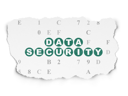 passkey: Protection concept: Painted green text Data Security on Torn Paper background with  Hexadecimal Code