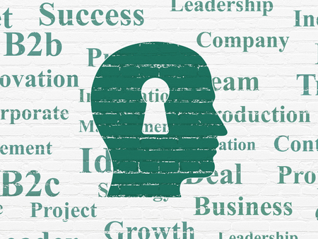 head tag: Business concept: Painted green Head With Keyhole icon on White Brick wall background with  Tag Cloud
