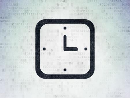 cronologia: Concepto de tiempo: Pintado icono del reloj negro sobre fondo de papel digital