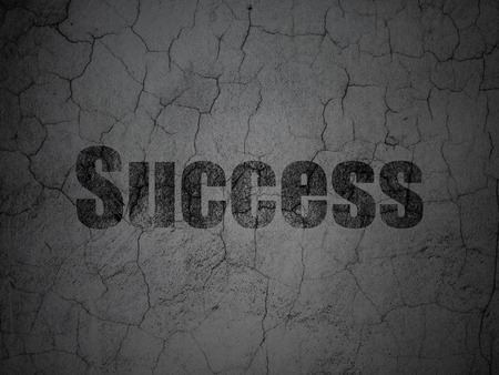success concept: Business concept: Black Success on grunge textured concrete wall background Stock Photo