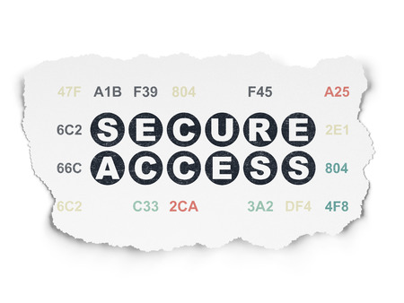 hexadecimal: Security concept: Painted black text Secure Access on Torn Paper background with  Hexadecimal Code