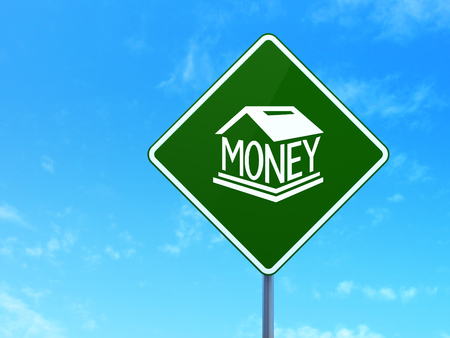 way bill: Money concept: Money Box on green road highway sign, clear blue sky background, 3d render