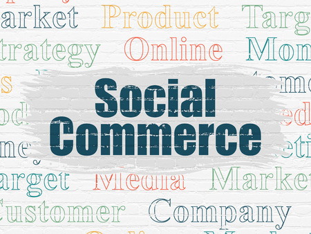 social commerce: Advertising concept: Painted blue text Social Commerce on White Brick wall background with  Tag Cloud