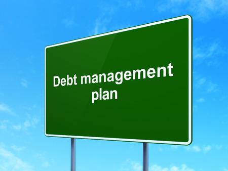 debt management: Finance concept: Debt Management Plan on green road highway sign, clear blue sky background, 3d render