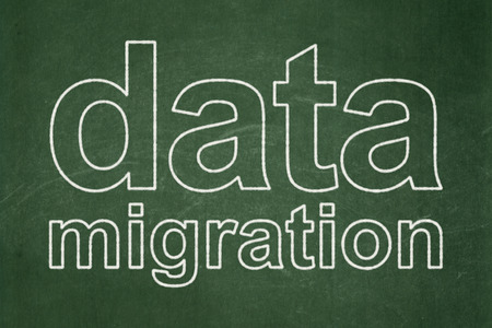 migration: Information concept: text Data Migration on Green chalkboard background Stock Photo