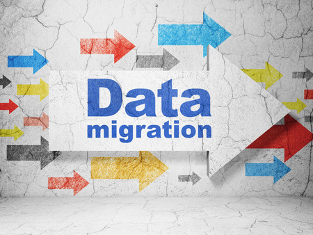 migration: Information concept:  arrow with Data Migration on grunge textured concrete wall background