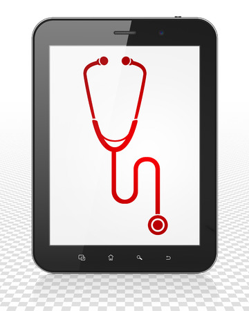 healing touch: Healthcare concept: Tablet Pc Computer with red Stethoscope icon on display