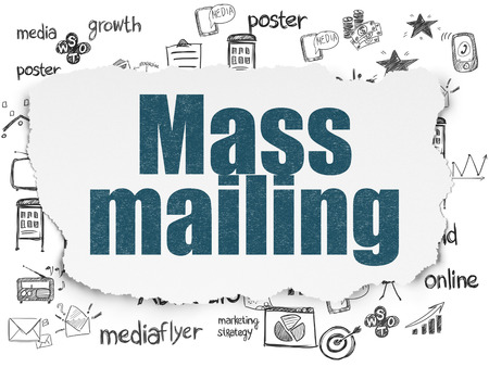 mailing: Marketing concept: Painted blue text Mass Mailing on Torn Paper background with  Hand Drawn Marketing Icons Stock Photo