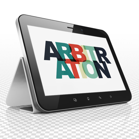 arbitration: Law concept: Tablet Computer with Painted multicolor text Arbitration on display Stock Photo