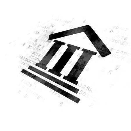 cyber defence: Law concept: Pixelated black Courthouse icon on Digital background Stock Photo