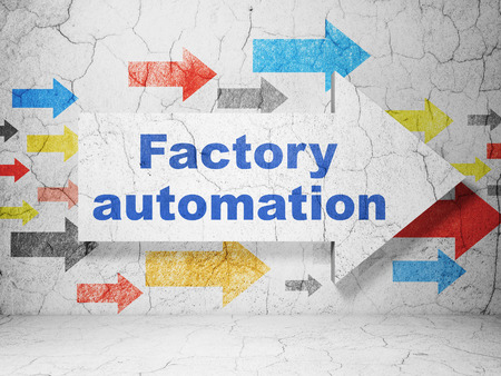 factory automation: Manufacuring concept:  arrow with Factory Automation on grunge textured concrete wall background