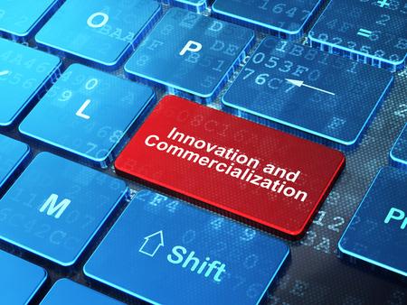 commercialization: Science concept: computer keyboard with word Innovation And Commercialization on enter button background, 3d render Stock Photo